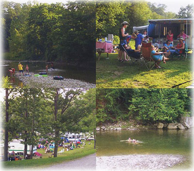 family camping at Follys End on Elk Creek near Lake Erie and Presque Isle State Park.